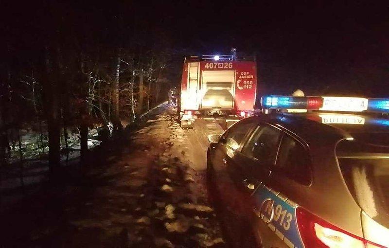 Kolizja drogowa na trasie Jasień - Obrowo